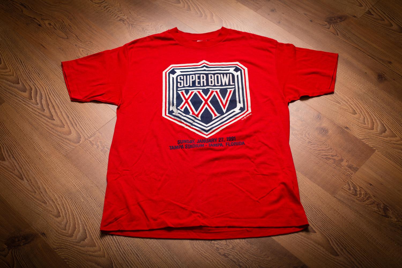 vintage 90s nfl bowl xxv big logo t shirt